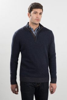 Plaited Suede Trim Button Mockneck Kinross Cashmere