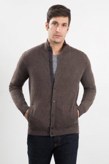 Mockneck Button Cardigan Kinross Cashmere