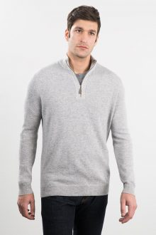 1/4 Zip Mock w/ Chevron Placket Kinross Cashmere