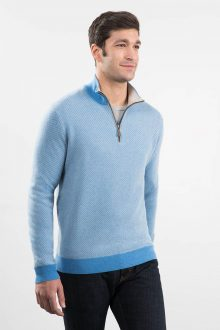 Jacquard 1/4 Zip Mock w/ Suede Kinross Cashmere