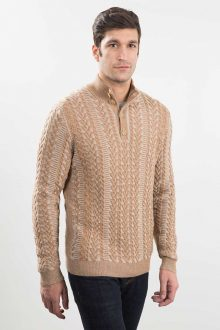 Plaited Cable Button Mockneck Kinross Cashmere