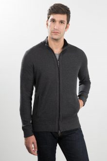 Tipped Pique Zip Mock Cardigan Kinross Cashmere