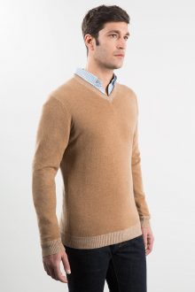Plaited Trim Vneck Kinross Cashmere