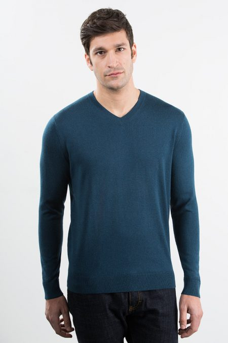 Tubular Trim Vneck - Baltic / Charcoal Kinross Cashmere