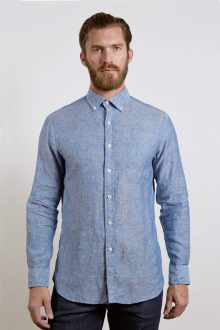 L/S Button Down English Placket Shirt W/Pkt - Navy Dot Chambray Kinross Cashmere