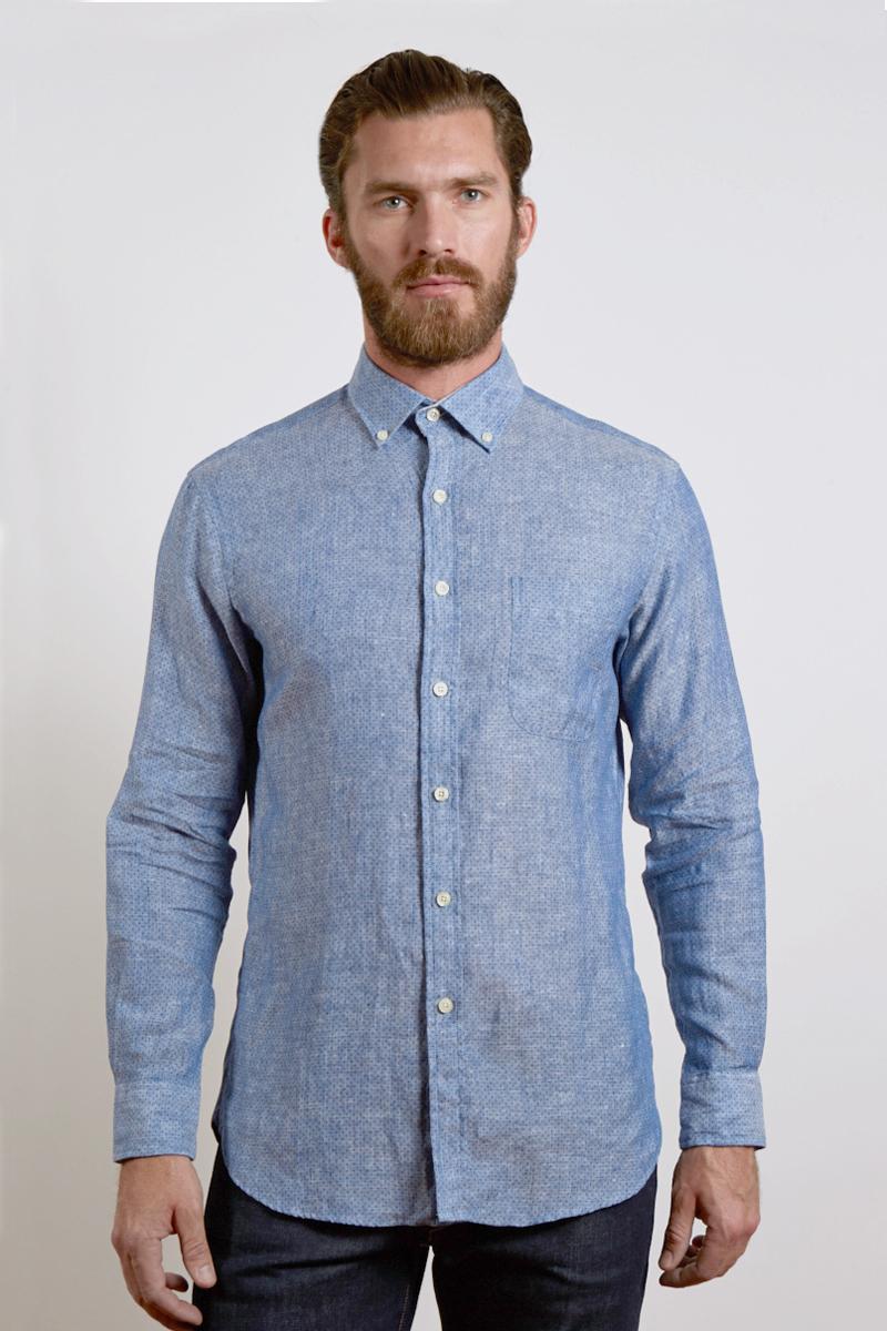 L/S Button Down English Placket Shirt W/Pkt - Navy Dot Chambray Kinross Cashmere