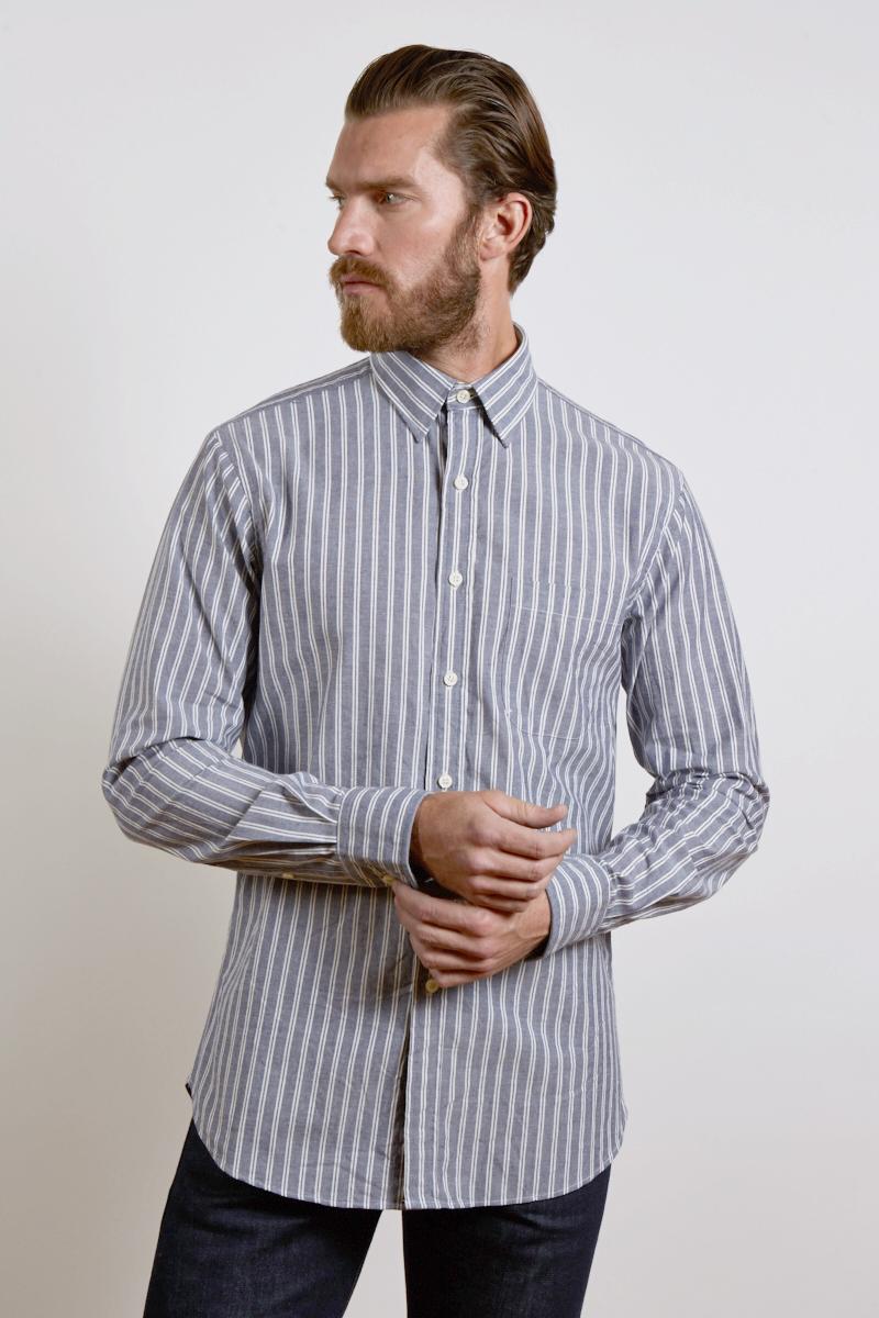 L/S Spread Collar English Placket Shirt - Liberty Print Kinross Cashmere