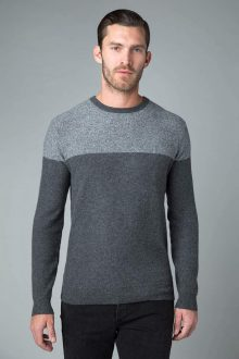 Blocked Marl Crew - Kinross Cashmere