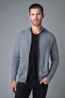 Suede Trim Full Zip Mock Cardigan - Kinross Cashmere