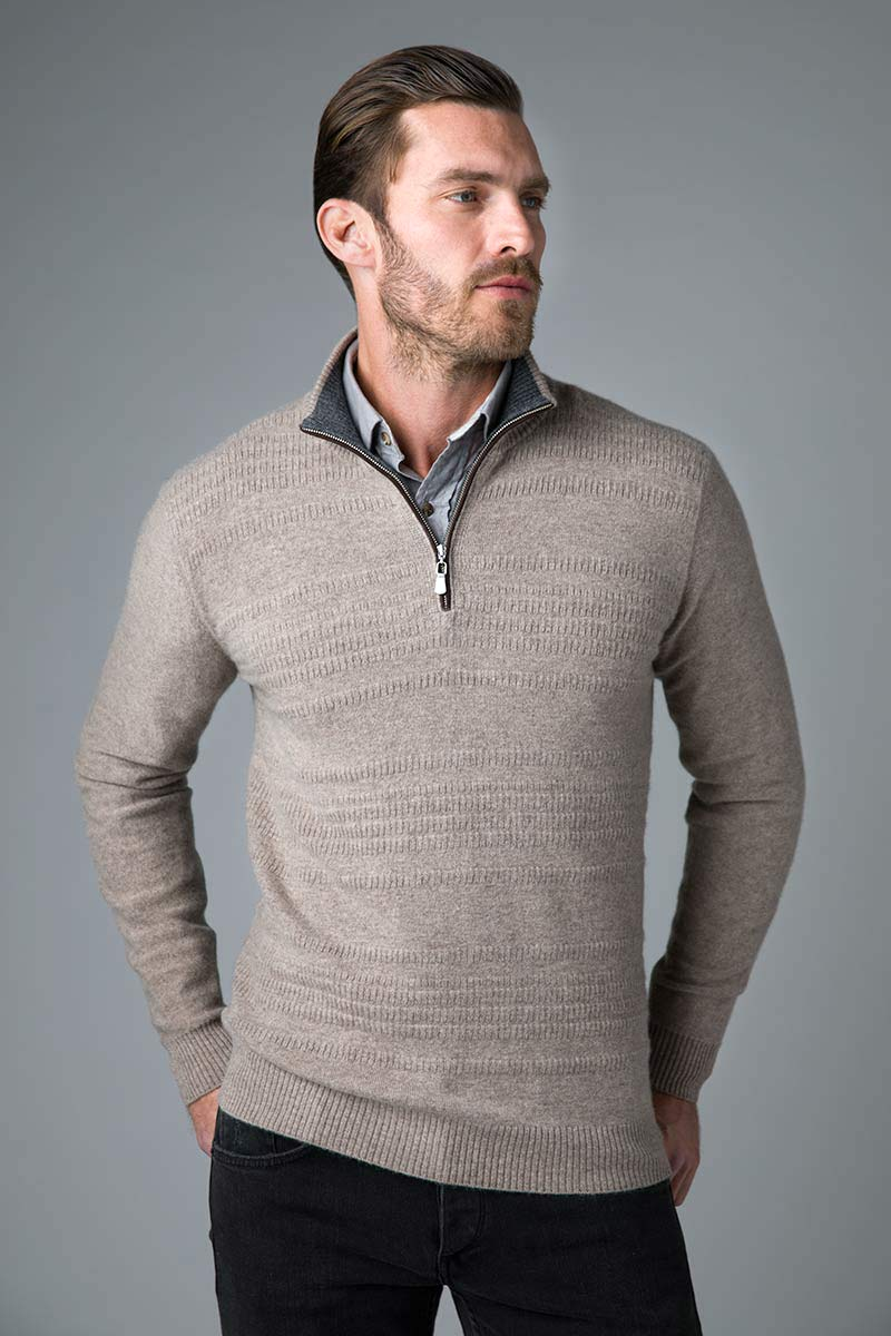 Suede Trim Text Stripe Qtr Zip Mock - Kinross Cashmere