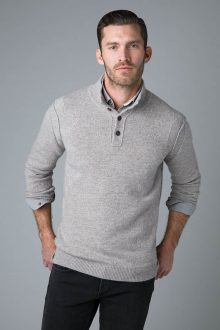 Marl Button Mock - Kinross Cashmere