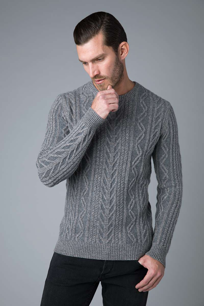 Plaited Marled Cable Crew - Kinross Cashmere