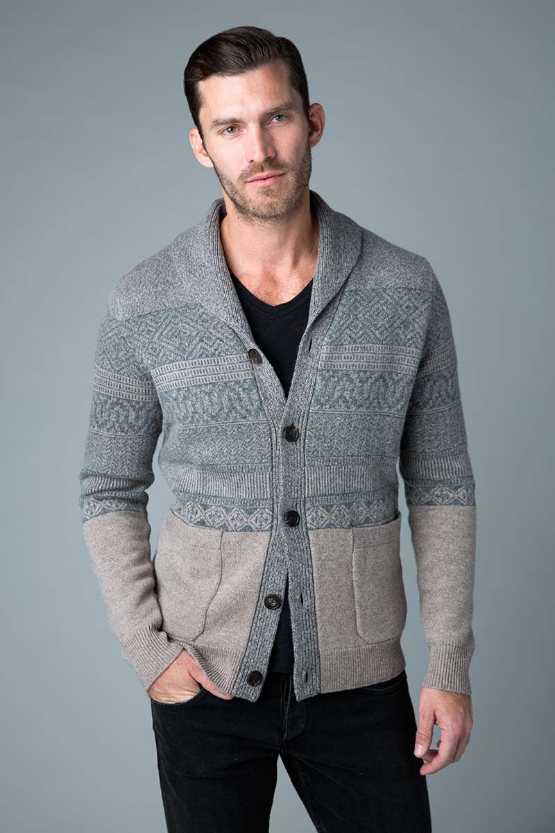 Fairisle Shawl Collar Button Cardi - Kinross Cashmere