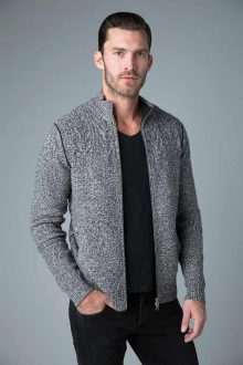 Marled Cable Full Zip Cardi - Kinross Cashmere