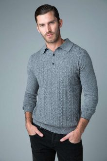 3 Button Cable Polo - Kinross Cashmere