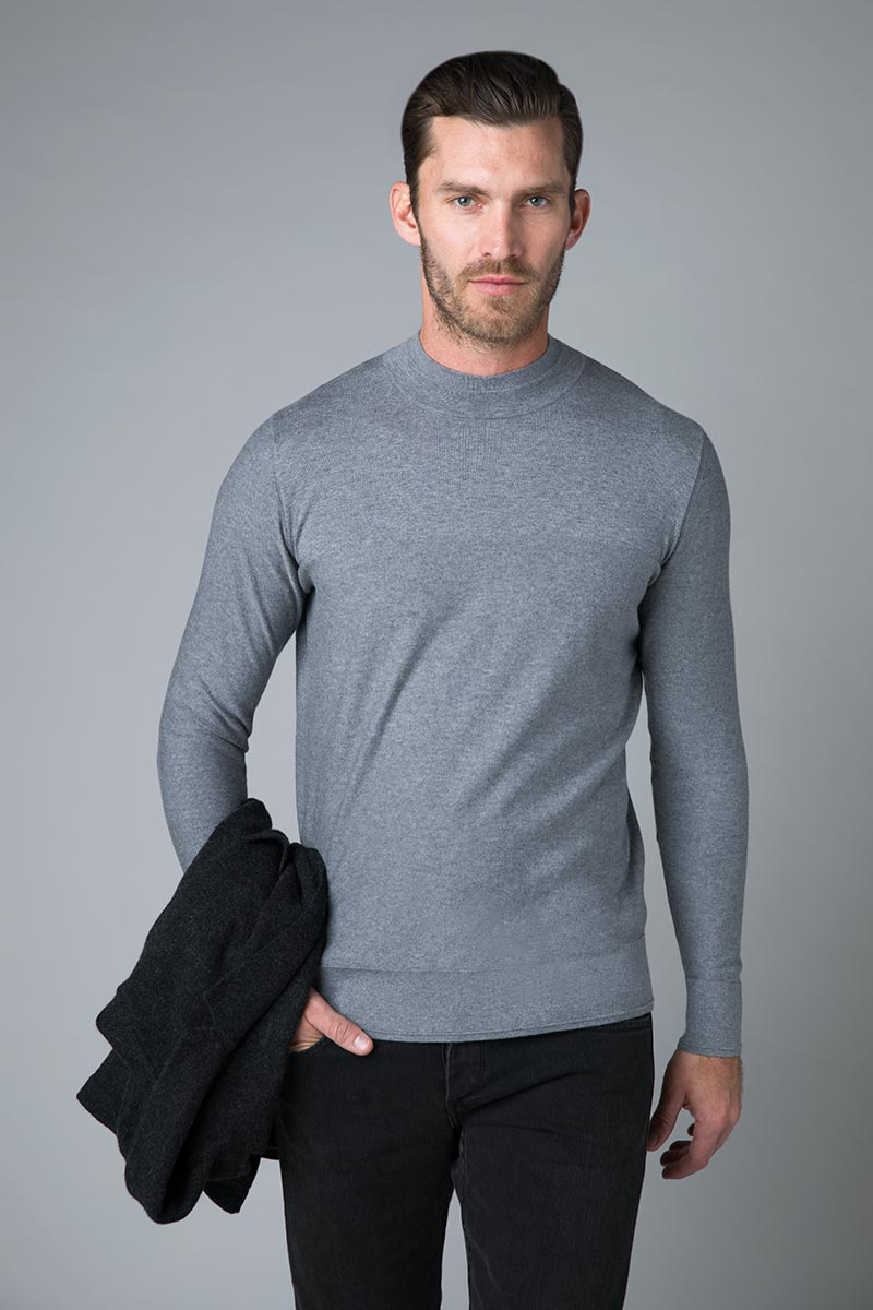 Textured Mock Neck - Kinross Cashmere