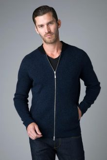 Full Zip Baseball Cardigan - Kinross Cashmere