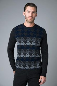 Houndstooth Striped Crew - Kinross Cashmere