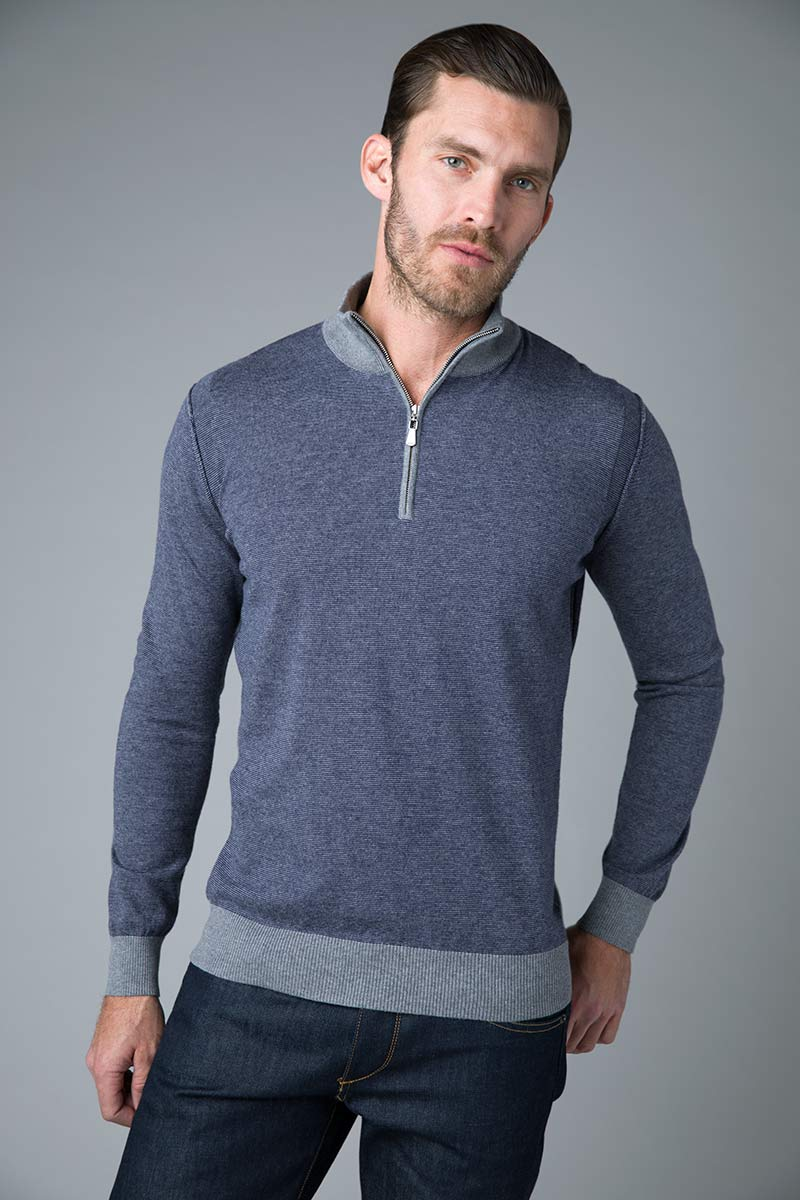 Feeder Stripe Qtr Zip Mock- Kinross Cashmere