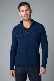 Plaited Cable Qtr Zip Mock - Kinross Cashmere