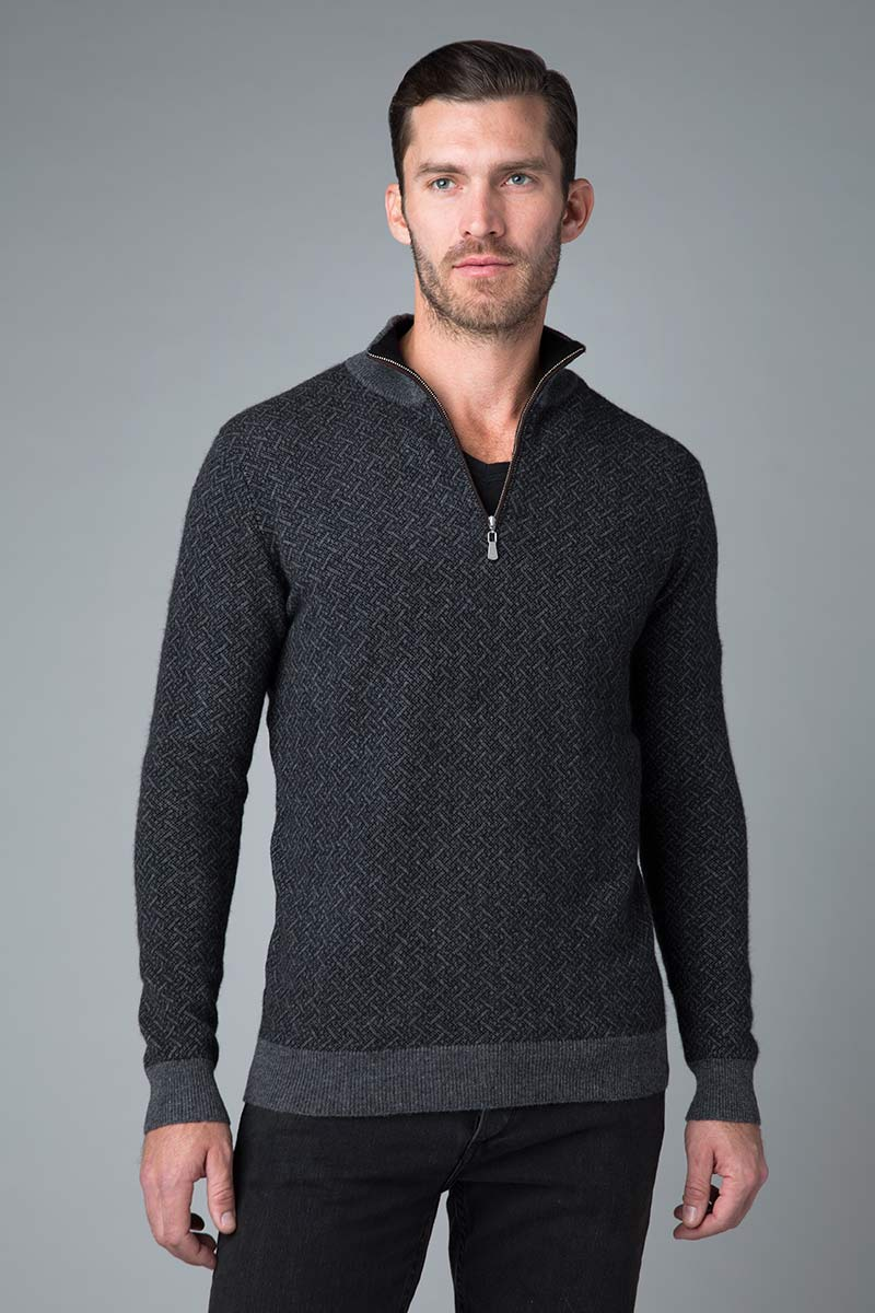 Lattice Jacquard Qtr Zip - Kinross Cashmere