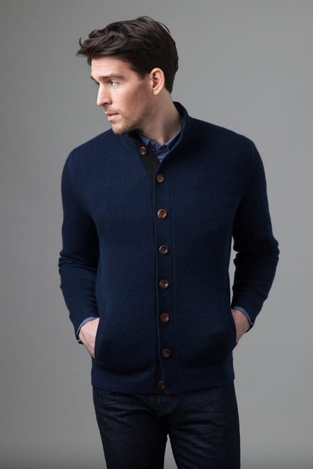 Button Utility Cardigan - Kinross Cashmere
