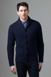 Marled Cable Shawl Cardigan - Kinross Cashmere