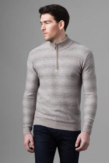 Horizontal H'bone Qtr Zip Mock - Kinross Cashmere