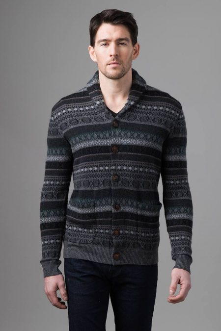 Fairisle Shawl Collar Cardigan - Kinross Cashmere