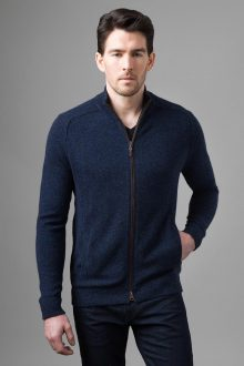 Suede Trim Zip Mock Cardigan - Kinross Cashmere