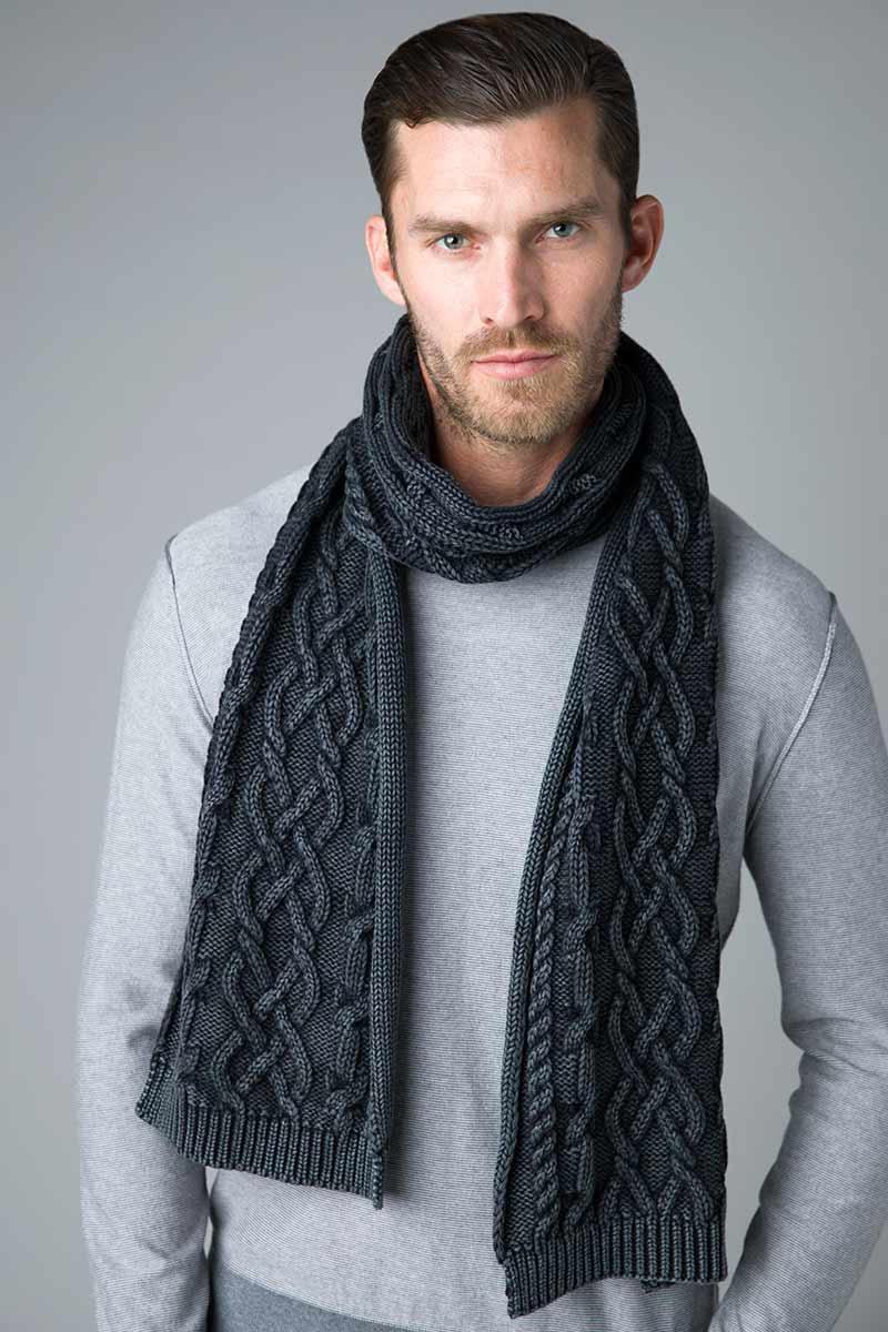 Chunky Cotton Cable Scarf - Kinross Cashmere