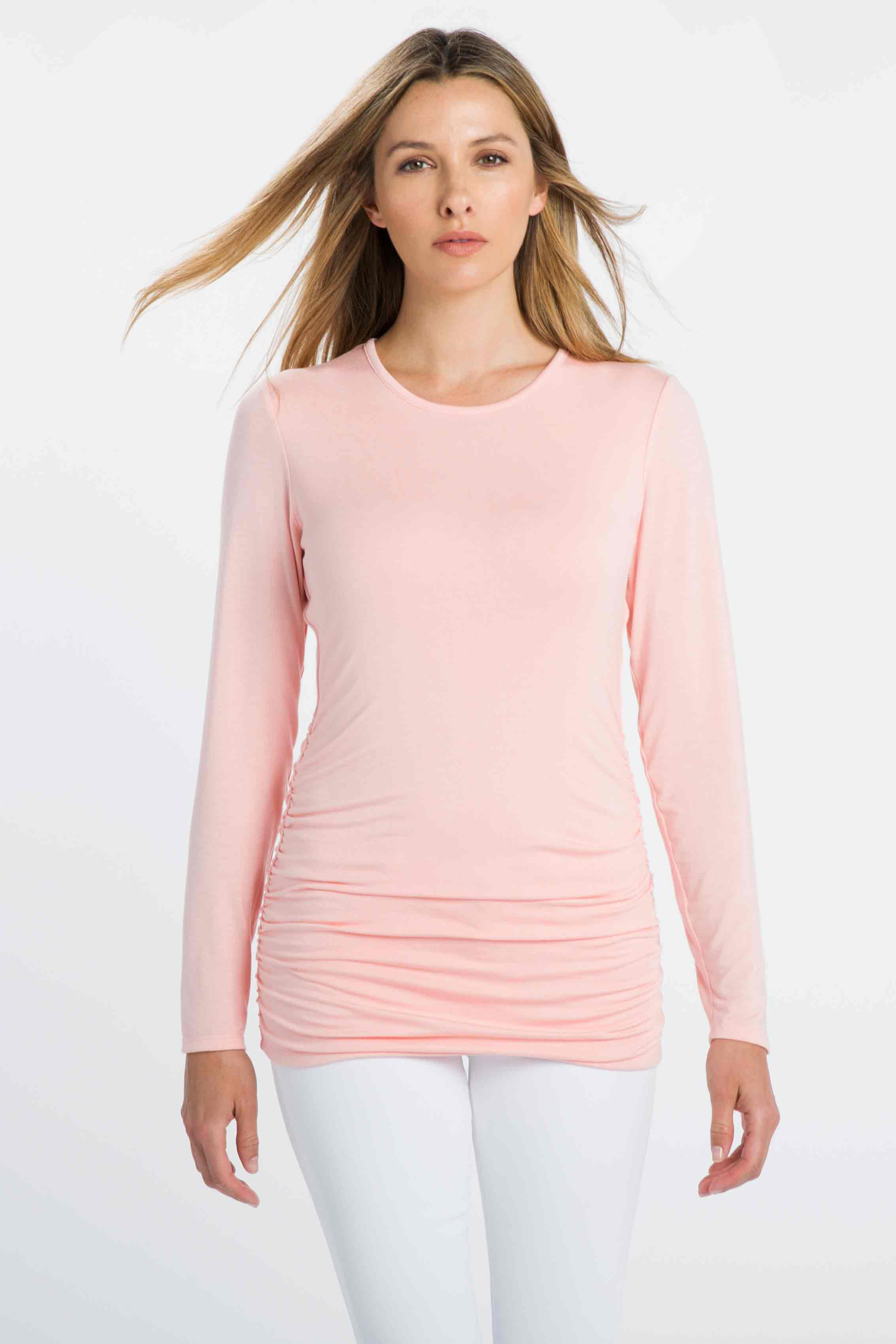 Ruched Long Sleeve Crew - Kinross Cashmere